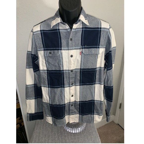 Levi's Other - Levis Red Tag Mens Blue White Blocks Shirt Small